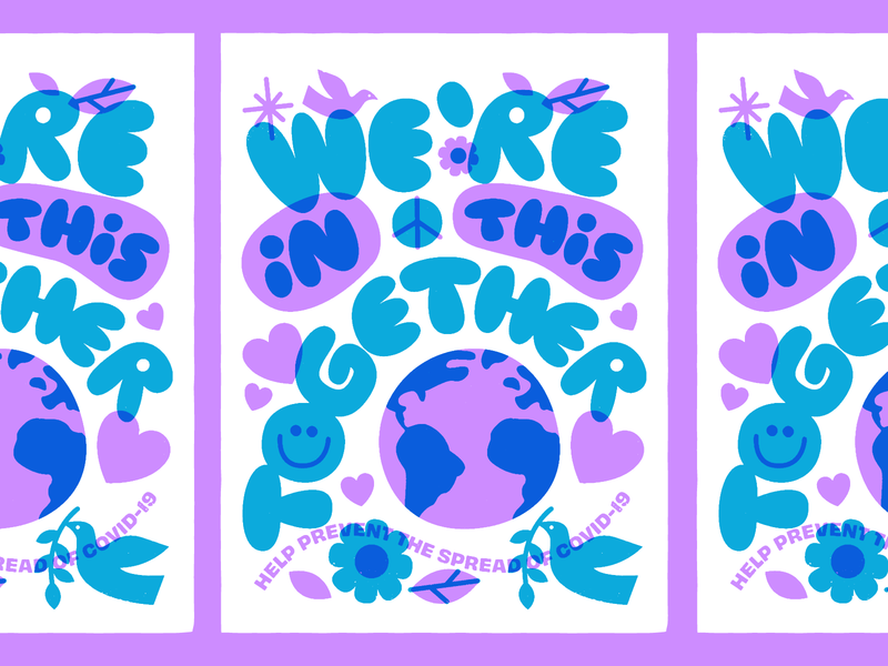 We're In This Together! globe earth peace overlay poster print covid covid19 art illustration