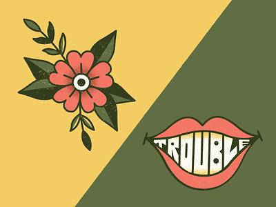 👄🌸👄 oldschool trouble lips flower fun tattoo vector art illustration