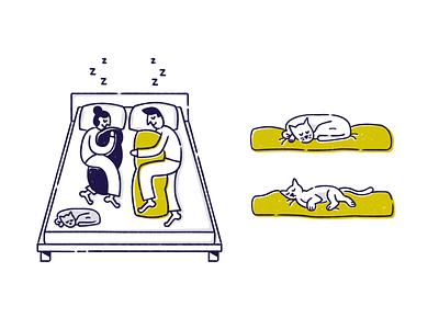 ✨ Kakun pt.2 ✨ zzz sleeping bodypillow pillow cats sleep flat character vector illustration