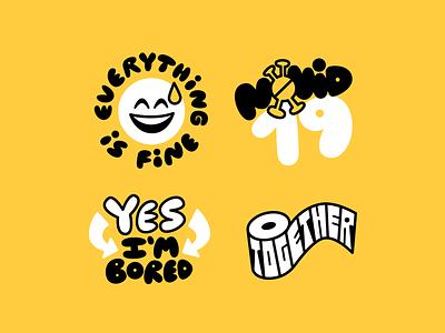 Leftovers emoji covid-19 together stickers sticker design illustration vector
