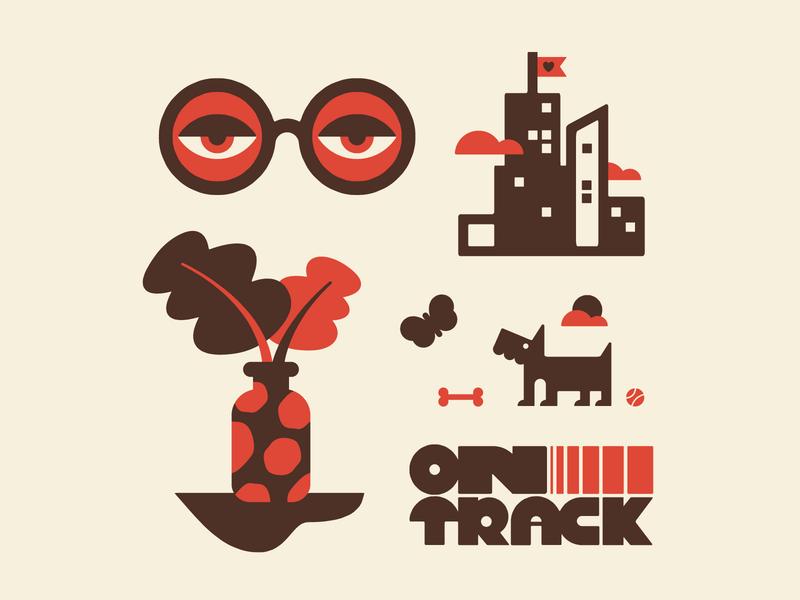 ON TRACK lettering design fun character doodle art vector illustration
