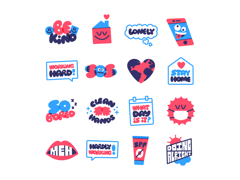 ...more Snapchat Stickers! stickerpack stickers covid design lettering type vector snapchat illustration