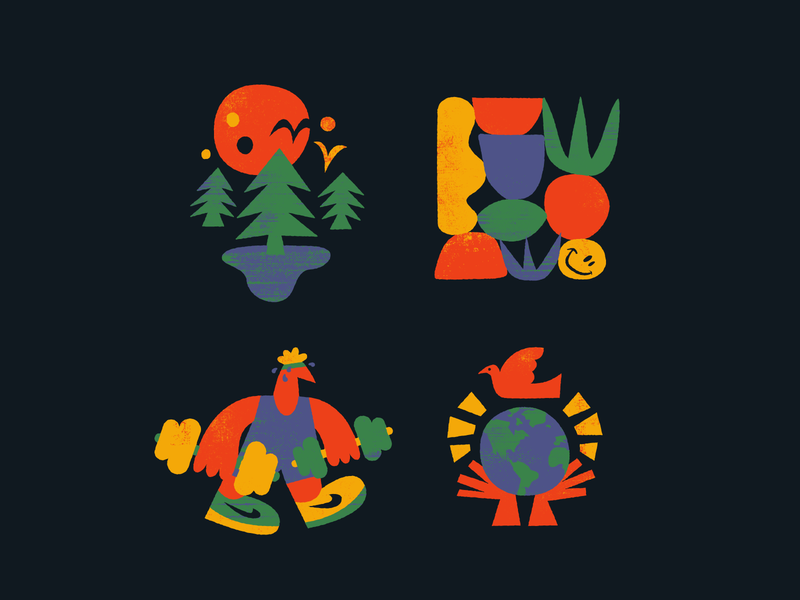 🙂🌲✏️ icon drawing fun character doodle texture vector art illustration