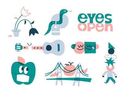 Eyes open 👀 texture fun character vector art illustration