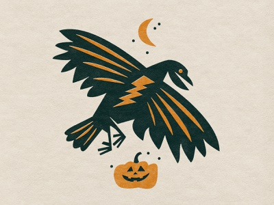 ⚡️🦅⚡️ pumpkin halloween truegrit texture badday electric crow art illustration