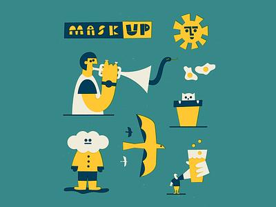 Mask up 😷 mask sun texture drawing fun character doodle vector art illustration