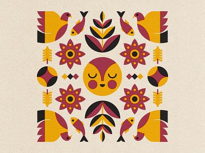 🐟🐟🐟 drawing fun fish bird folkart folk symmetry art illustration