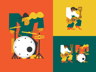 The band guitar drums characterillustration character band jam music vector art illustration