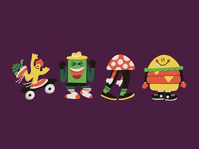 Sup tuesday dude mushroom burger fun doodle character art illustration