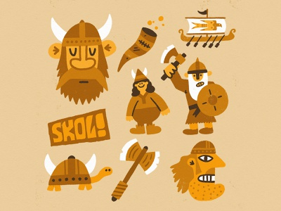 Skol! fun character vikings viking texture vector art illustration