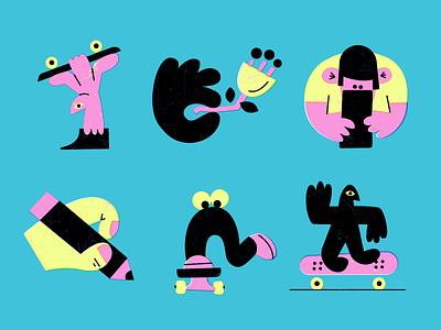 Slow Mondays 💤 pencil skateboarding design fun doodle character texture vector art illustration