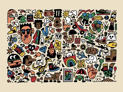 Art, man drawing fun character doodle art illustration