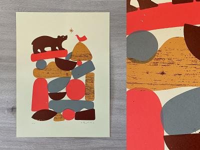 The Bird and The Bear frenchpaper screenprint print bird bear texture vector art illustration