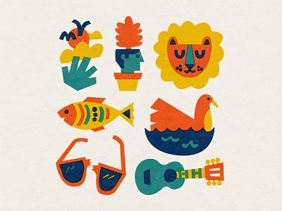 🦁🦁🦁 doodle texture character vector art illustration