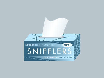 Snifflers runny nose gradient illustration tissue kleenex quality guaranteed blue