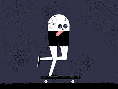Mongo night texture grit illustration tongue skull skateboarding mongo