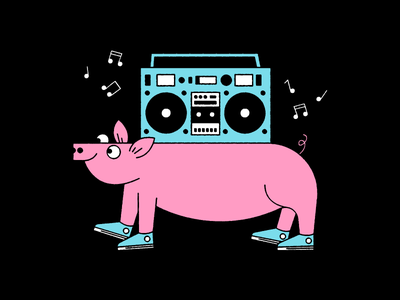 Man that pig's got the best tunes  vector jamming chucks music solid texture wut boombox illustration pig