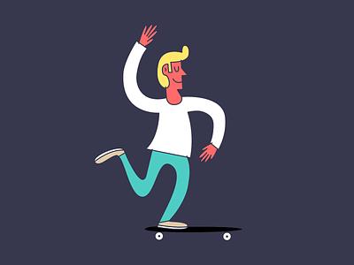 They call him... The dancer. flat vector guy cool blonde sunburnt skate mongo art dancer illustration skateboard