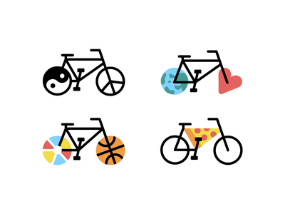 Bikes, bikes, bikes ball heart world peace yinyang pizza vector icon illustration flat thicklines bike