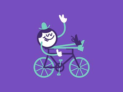 Pleasure cruise smile teeth thumbsup purple flat illustration art stroke peace ride bike cruise
