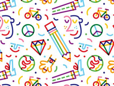 🎉 monowidth colour color stroke thicklines rainbow vector illustration art surfacepattern pattern