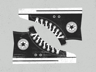 ⚪️ ⚫️ dirty old worn gritty texture shoe converse chucktaylor laces art illustration