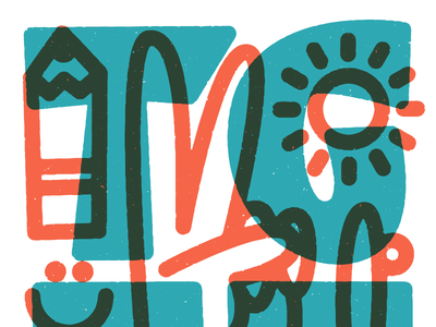 TGIF overprint transparency multiply thicklines illustration icon texture lettering peace friday tgif