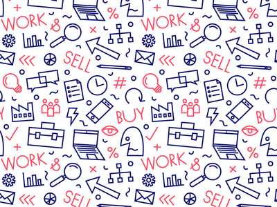 Business-ish monoline repeat scattered drawing stuff business icon vector illustration pattern