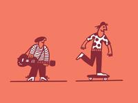 A rocker and a roller
