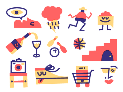 📷🌩️🏀👁️🍷🛒👟 stuff overprint thicklines drawing vector illustration doodle art