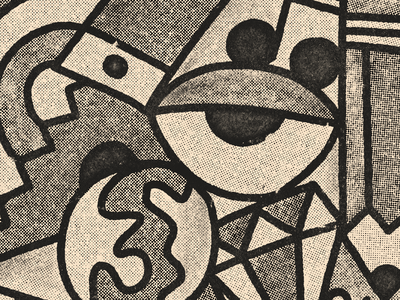 Gritty business newsprint art doodle procreate halftone illustration texture grit