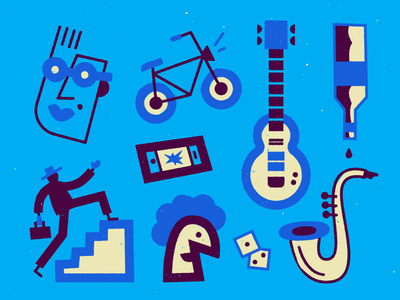 Blues blue stroke fun doodle vector texture art illustration