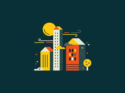 Windy nights 🍃 moon night illustration wind geometric vector town