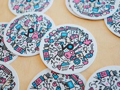 Coasters! character cheers stickermule coaster doodle vector illustration