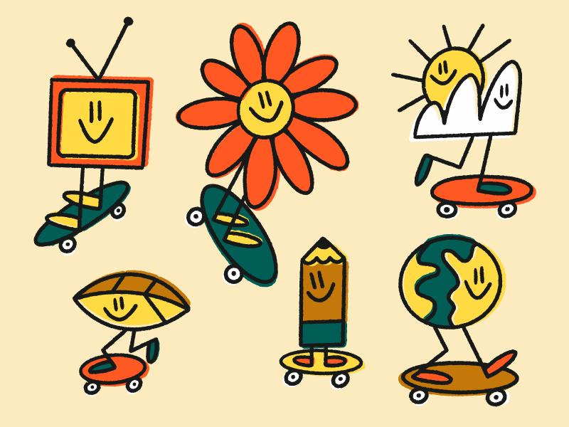 THE squad 🌼 drawing skatboarding character fun vector texture art illustration