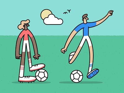 ⚽️✔️ outdoors football kick soccer fun character vector illustration