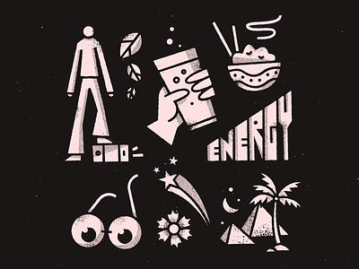 🌴🍜🌴 halftone grit fun doodle vector texture art illustration