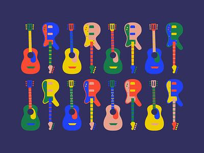 Guitar party music popart vector flat guitar illustration