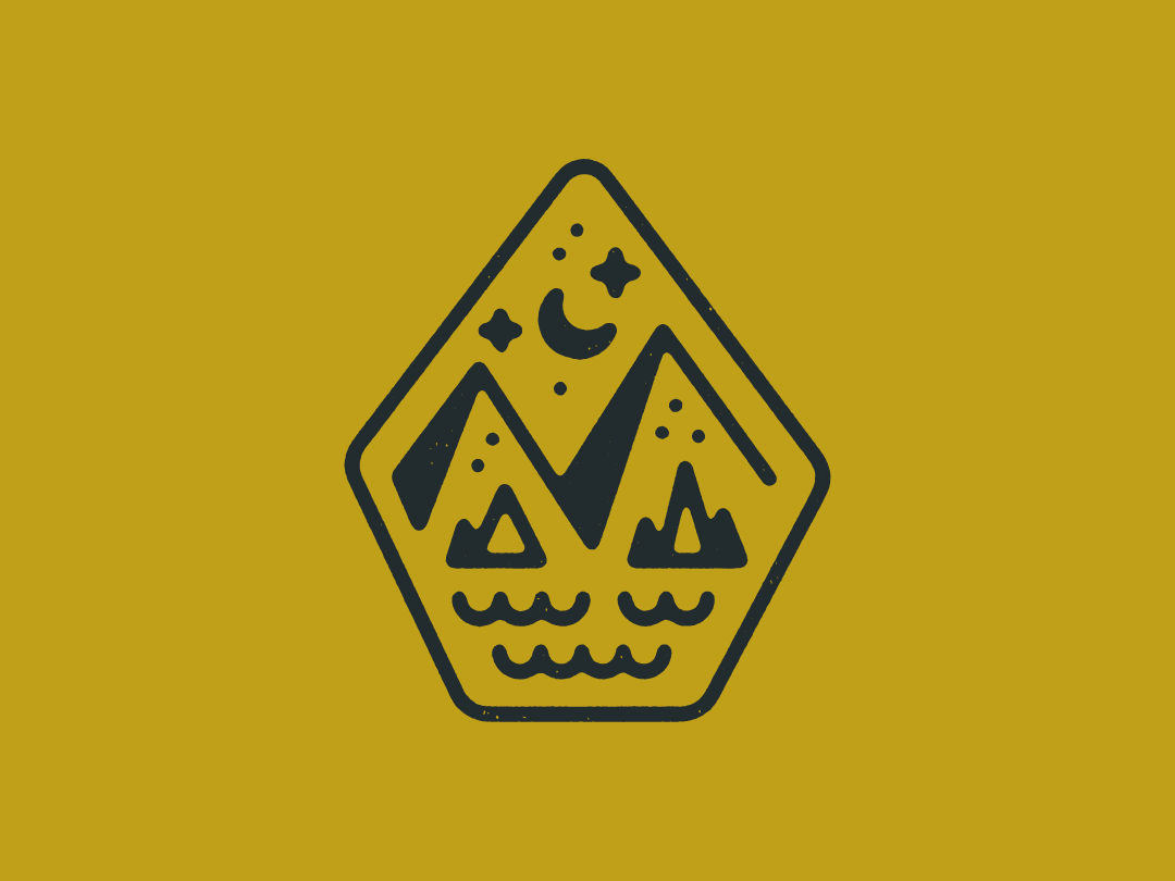 🌙🌙🌙 outdoorsy stroke vector outdoors mountain badge illustration
