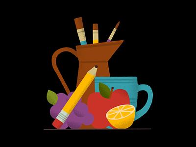 Still life 🍎 apple pencil texture stilllife doodle vector art illustration