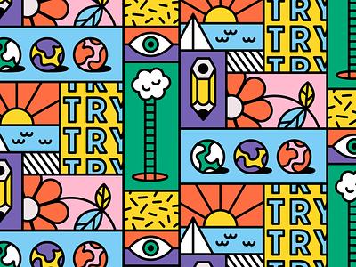 ✏️🌎☀️☁️⛵️👁️ try grid pattern stroke flat fun vector art illustration