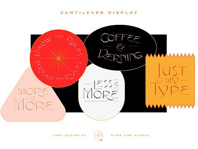 Cantilever Font Design gold black lettering typography typeface type font design