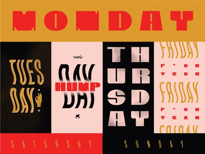 Days of the week pink design gold black digital illustration lettering type typography