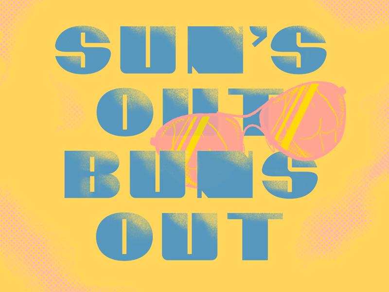 Sun's Out Buns Out illustration summer procreate lettering typography type