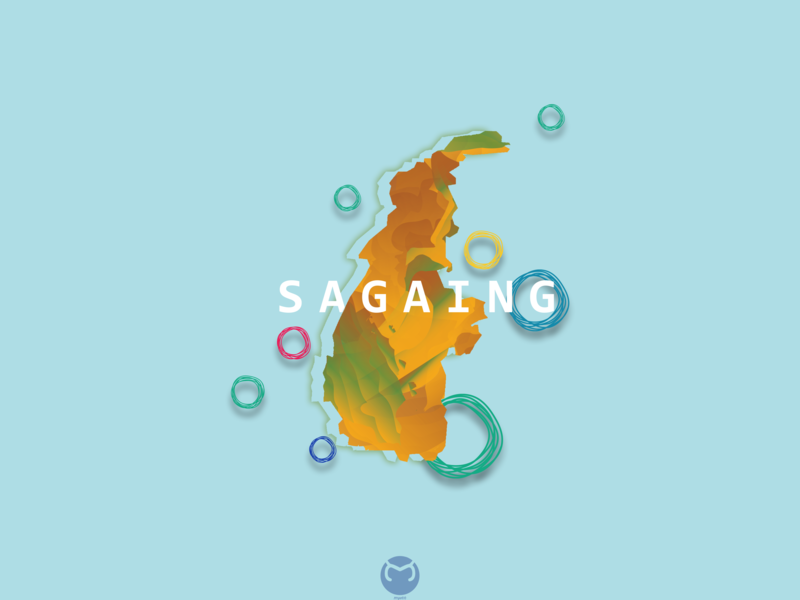 Sagaing City Abstract map illustration flat abstract awesome design myanmar illustrator