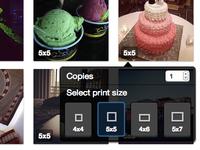 Photo Print Size Button (UI)