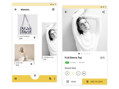 Ecommerce app concept with updated material design