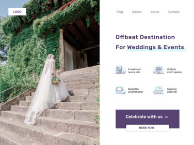 Wedding and events landing page