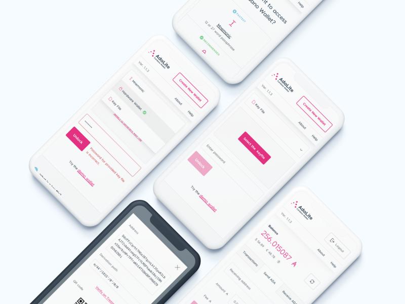 AdaLite - Mobile design cardano wallet dashboard mockup crypto mobile ui