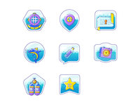Badges for a diving site